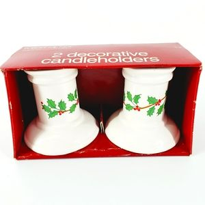 Greeting American Holly Christmas Candle Holders